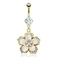 "Gold Plated 316L Surgical Stainless Steel Navel Belly Button Ring with Multi CZ Paved Hawaiian Flower with White Epoxy - 14 GA 3/8"" Long"