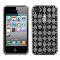 Candy Skin Transparent Argyle Case for iPhone 4 / 4S - Clear
