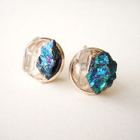 Raw Crystal Stud Earrings -Bohemian Chic - Raw Crystal Point and Peacock Ore Minerals