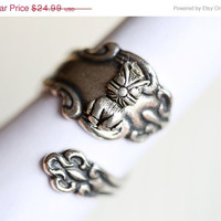 ON SALE Antique Spoon Ring,Silver Ring,Cat Kitten Kitty Silver Spoon Ring,Antique Ring,Silver Ring,Wrapped,Adjustable,B­ridesmaid.