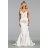 Bonny Sweep Mermaid Backless Deep V-neckline Taffeta Beading Wedding Dress
