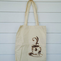Coffee Cup Stenciled Tote by artistabarista on Etsy