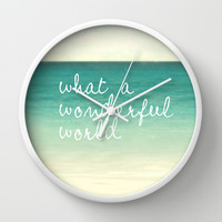 wonderful world Wall Clock by Sylvia Cook Photography
