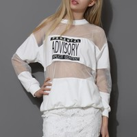 White Print Sweat Mesh Top