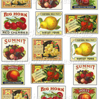 Decoupage Papers Fruit Crate Labels