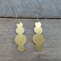 Bubbly Shiny Gold Brass Earrings