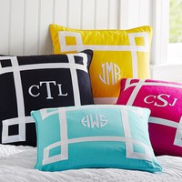 Ribbon Trim Monogram Pillow Cover