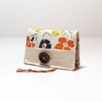 Cotton Card Holder - Floral - Orange Navy Blue Yellow Gray - Business Card Holder - Business Card Display
