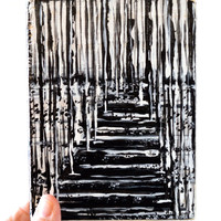 Winter, a Black and White Wood Block Original Landscape Painting