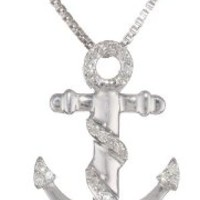 Sterling Silver 1/10 cttw Diamond-Accented Anchor Pendant Necklace, 18""