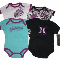 Hurley Baby Girls 4 Pc Short Sleeve Bodysuits, Purple, Sz 3-6 Mos