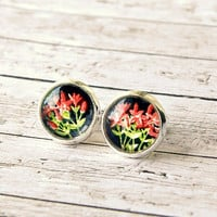 little red flower upcycled stamp silver post earrings, eco friendly, OOAK, red black, stud, faux plugs