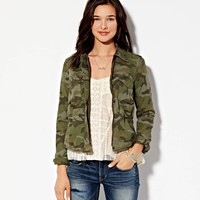 AE CROPPED CAMO JACKET