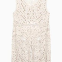 Beige Gatsby Style Sleeveless Floral Lace Shift Mini Dress  #white #lace #shfit #dress #floral #gatsby #partydress #spring #summer #formal