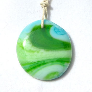 Glass Necklace Marbled Swirl by The Wild Willows