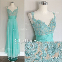 Custom Made Sweetheart Chiffon Green Lace Prom Dresses, Lace Bridesmaid Dresses, Dress For Prom, Prom Dress 2014, Formal Dresses