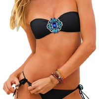 MLS Women's Swimsuit Crystal Halter Bandeau Wireless Padded String Bikini Sets Black
