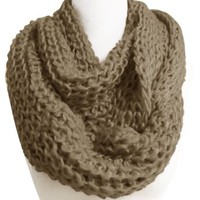 Chunky Warm Hand Knitted Infinity Large Loop Scarf in Several Colors (Taupe)