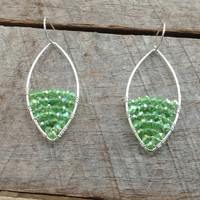 Large Sterling Silver Hoops with Green Crystal Glass Half Full