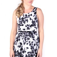White & Black Floral A-Line Dress with Belt
