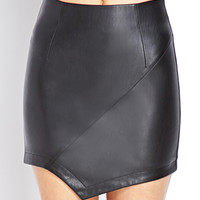Modernist Faux Leather Skirt