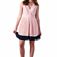 Pink Color Blocked Pleated Dress