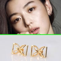 Metal Bow Statement Earrings