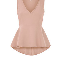Shell Pink V Neck Sleeveless Peplum Top
