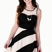 Black & Nude Stripe A-Line Tank Dress