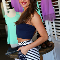 Striped Lace Shorts {Navy + White}