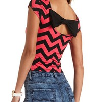CAP SLEEVE BOW-BACK CHEVRON PRINT SHIRT