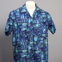 50s SHAHEEN Mens SHIRT / Rockabilly HAWAIIAN Aloha Loop Collar Shirt, M