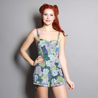 50s Daisy Floral SWIMSUIT / Green, Blue & Purple Print PLAYSUIT, m - l