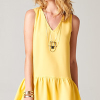DROP WAIST RUFFLED HEM DRESS - YELLOW