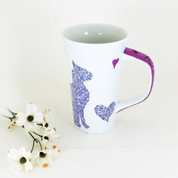 Personalized cat mug - Custom hand painted porcelain mug