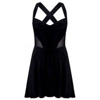 Chique Fashion | Mesh Detail Cross Strap Velvet Skater Dress in Black | Spoiled Brat
