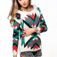 Aztec Print Furry Long Sleeve Sweater