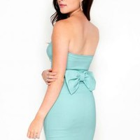 Mint Strapless Bow Back Bodycon Dress