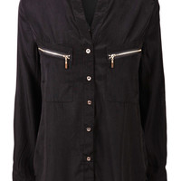 Lizbeth Black Zip Collarless Blouse at Fashion Union