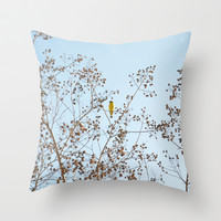 little yellow bird Throw Pillow by RichCaspian
