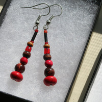Earthwear: Gemstone Earrings ~ Red Howlite and Red Tigerseye ~ Natural Stone, Glass, Wood, & Upcycle Beads