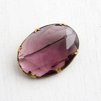 Vintage Amethyst Purple Glass Brooch - 1940s Art Deco Large Faceted Colored Stone Costume Jewelry