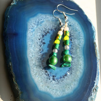 Earthwear Gemstone Earrings ~ Malachite Lemon Jade & Upcycle Accents ~ Natural Healing Jewelry