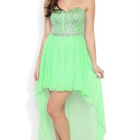 sequin strapless sweetheart stone trim waist ho low mesh skirt w/sequin short skirt