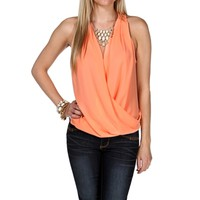 Peach Lace Back Surplice Top