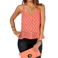 Coral Daisy Strap Crop Top