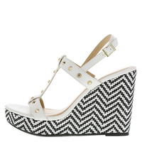 Women's Sadie Raffia High Wedge Sling #spring #trend #blackandwhite