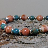 Red Malachite and Blue Sky Jasper Meditation Bracelet  | Angelof2onArtFire - Jewelry on ArtFire