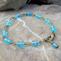 Water Drops - Aqua faceted glass - Wire Wrapped Bracelet | Angelof2onArtFire - Jewelry on ArtFire