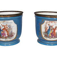 French Sèvres Cachepots, Pair